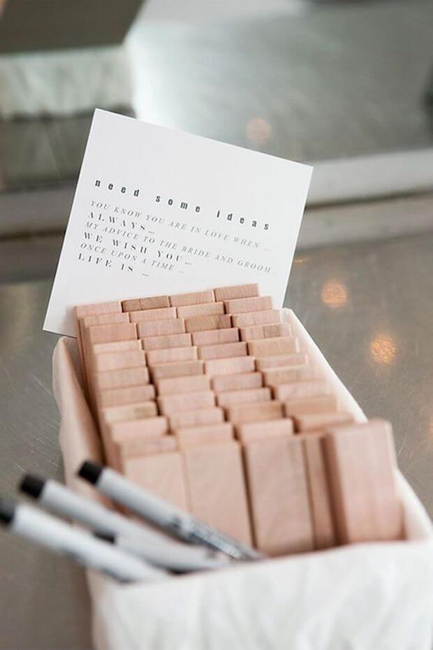 Jenga proposal for wedding guest-book